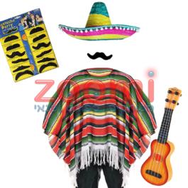 תלבושת מקסיקנית (פונצ'ו כותנה)