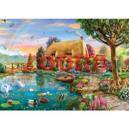 פאזל בקתה לצד האגם  – 2000 חלקים